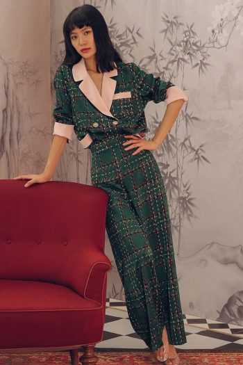 Pajama Style Green Plaid Two-Piece Suit