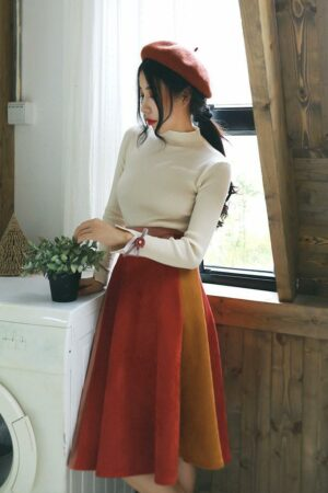 Hit Color Suede Pleated Skirt