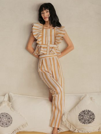 Backless Striped Ruffle Two-Piece Suit