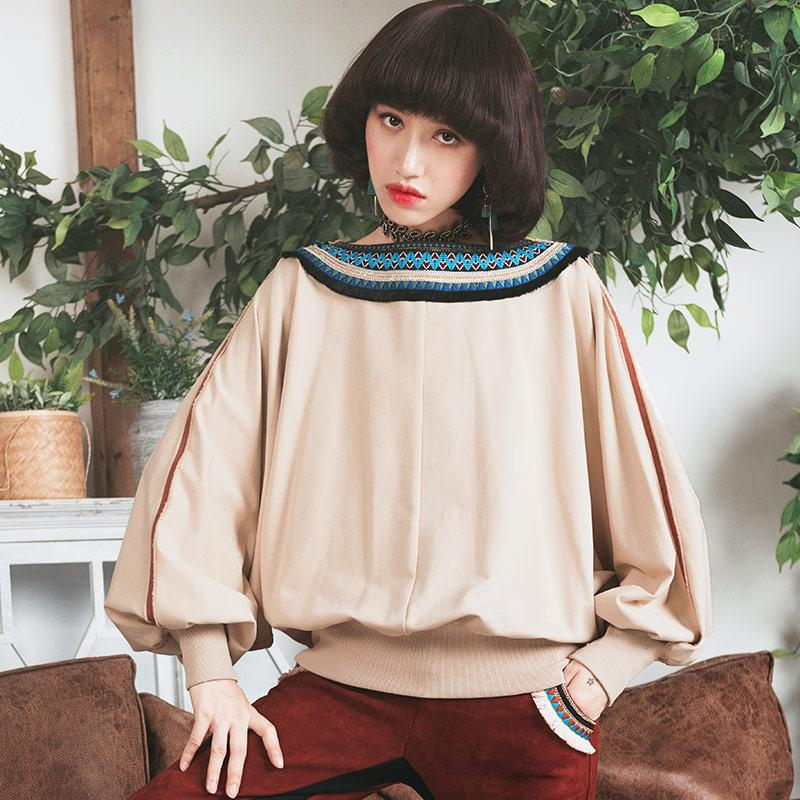Ethnic Style Bat Sleeve Sweater