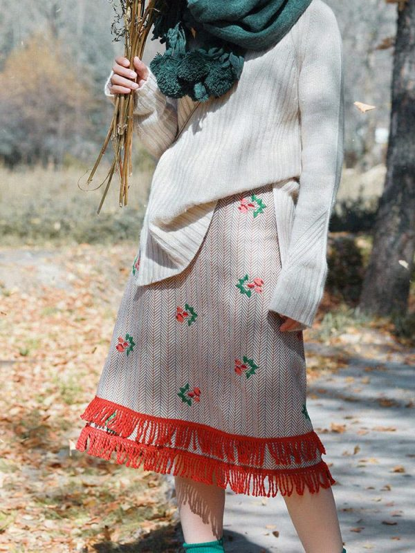 Vintage Style Striped Wool Skirt