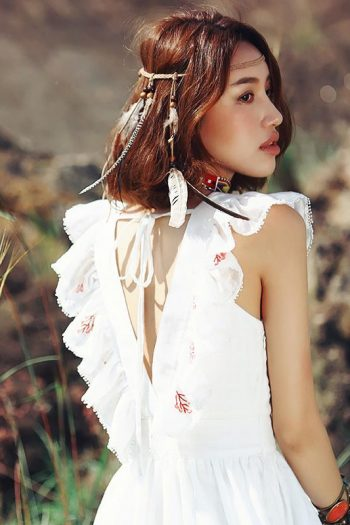 Bohemian White Ruffle Dress