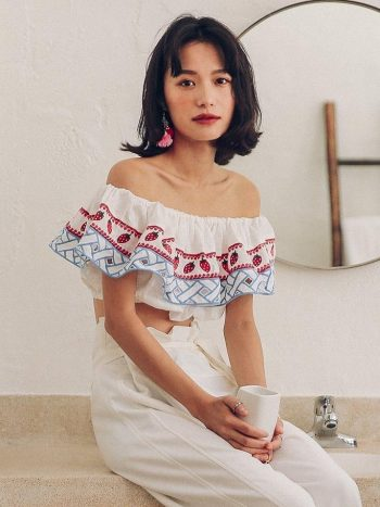 Strawberry Embroidered Crop Top