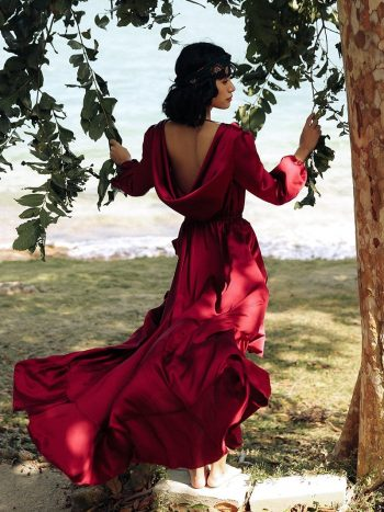 Backless Wine Red Maxi Dress