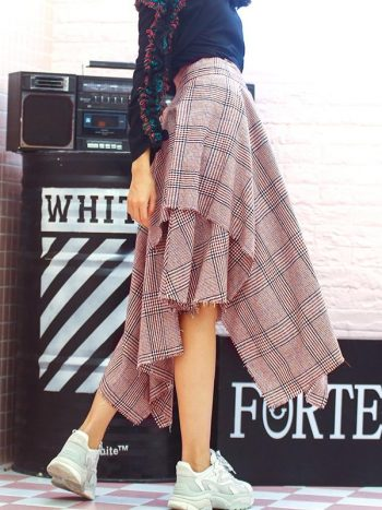 Asymmetrical Plaid Skirt