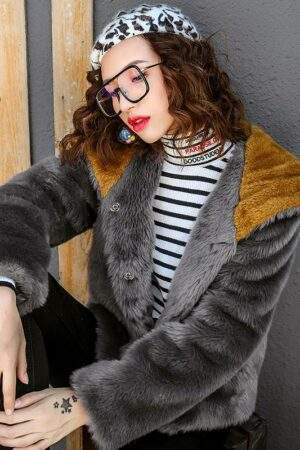 Gray Embroidered Faux Fur Jacket