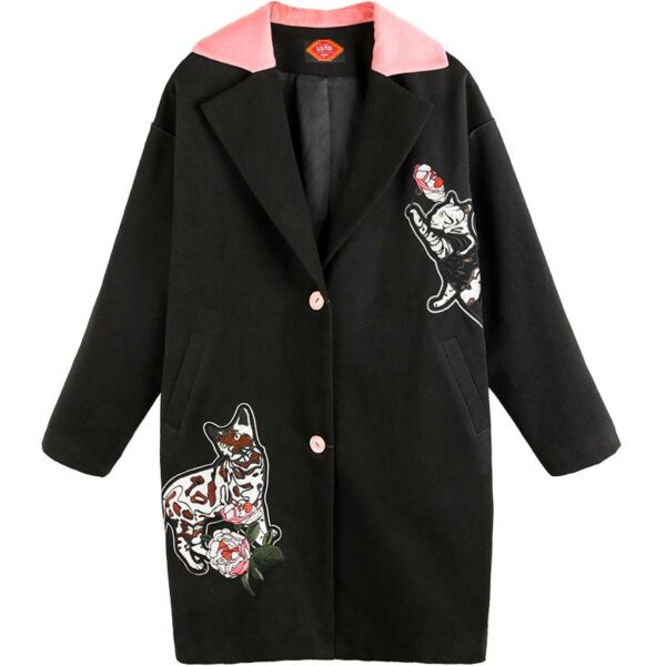 Black Embroidered Woolen Coat