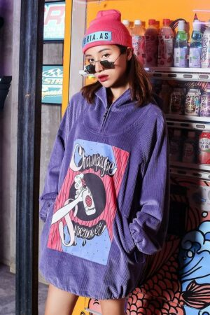Cartoon Printed Hodded Sweater