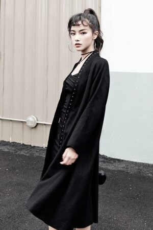 Rivet Detail Woolen Black Coat
