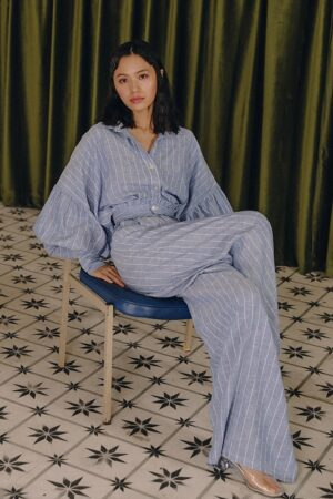 Blue Striped Bubble Sleeve Suit