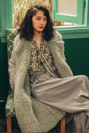 Light Green Faux Fur Coat