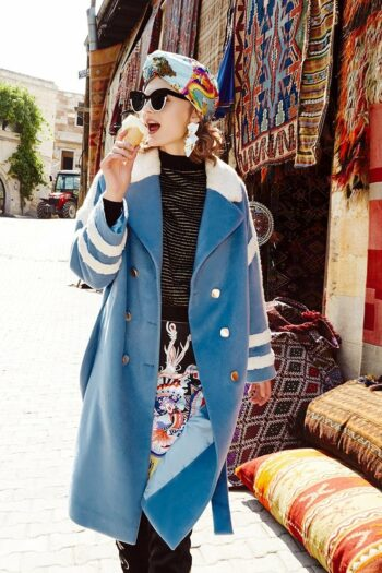 White Fur striped Coat With Belt