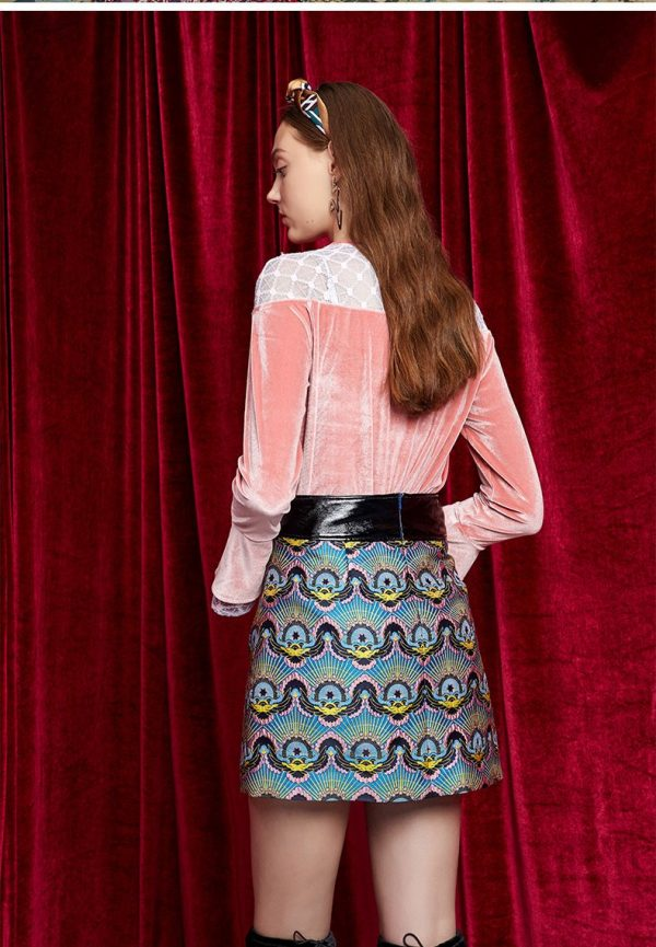 Leather Stitching Waist Jacquard Skirt