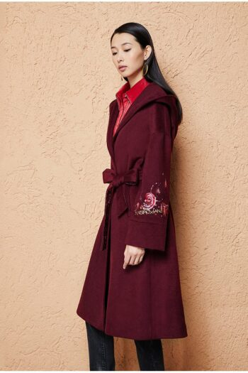 Floral Embroidered Hooded Coat