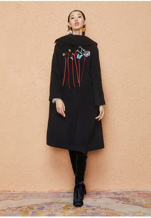 Black Embroidered Wool Coat
