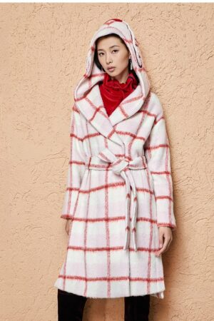 Plaid Embroidered Hooded Wool Coat