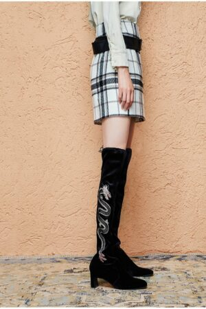 Plaid Skirt With Leather Belt