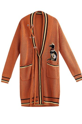 Egyptian God Embroidered Wool Cardigan