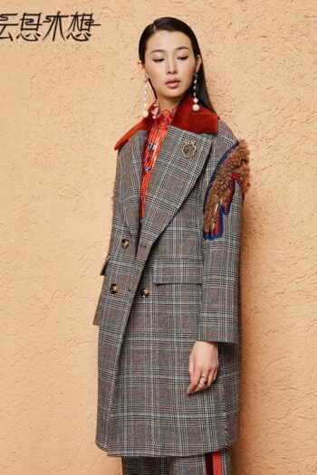 Plaid Embroidered Woolen Coat
