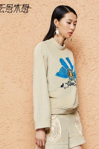 Stand Collar Embroidered Sweater