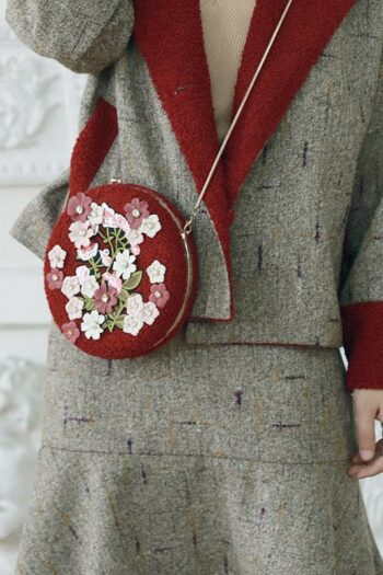 Red Embroidered Rround Bag