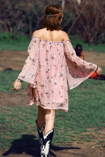 Bohemian Off Shoulder Pink Dress