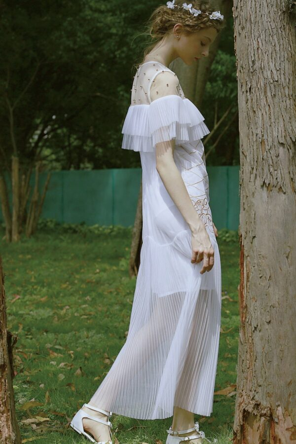 White Beaded Embroidery Dress