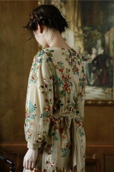 Floral Embroidery Long Sleeve Vintage Dress