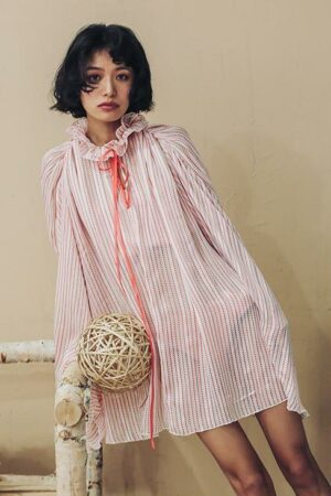 Bat Sleeve Striped Dress