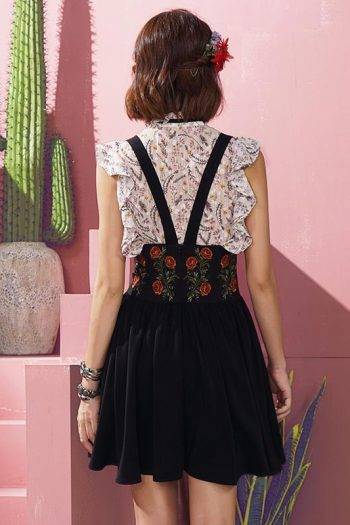Floral Embroidered With Straps