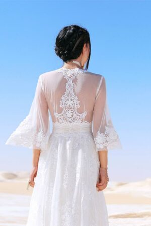 White Lace Bohemian Maxi Dress