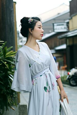 Light Gray Elegant Chiffon Dress