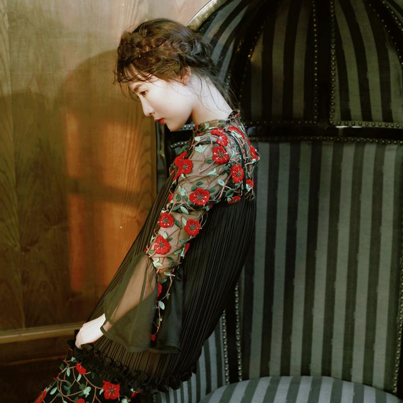 Black Lace Floral Embroidered Shirt