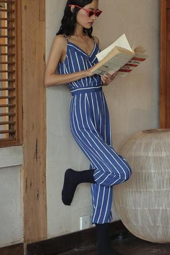 V-Neck Backless Striped Blue Jumpsuit