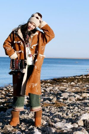 Camel Embroidered Lamb Fur Coat