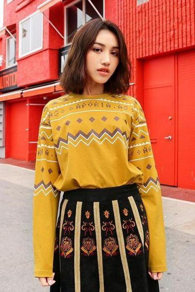Ethnic Style Yellow Sweater