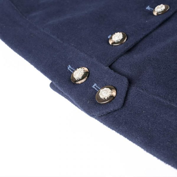 Blue Embroidered Short Wool Coat