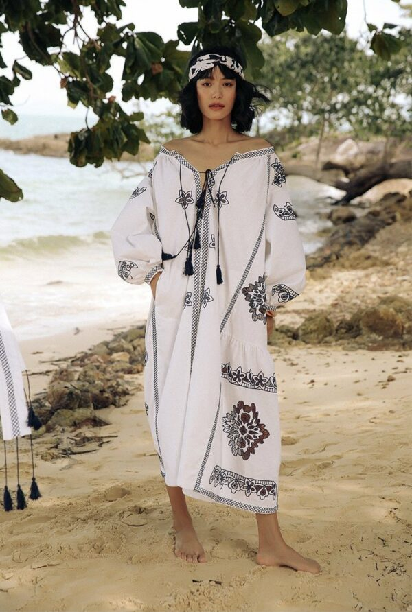 Bohemian Embroidered White Dress