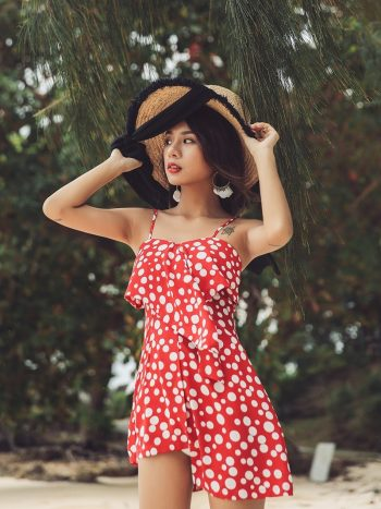 Red Polka Dot Beach Mini Dress