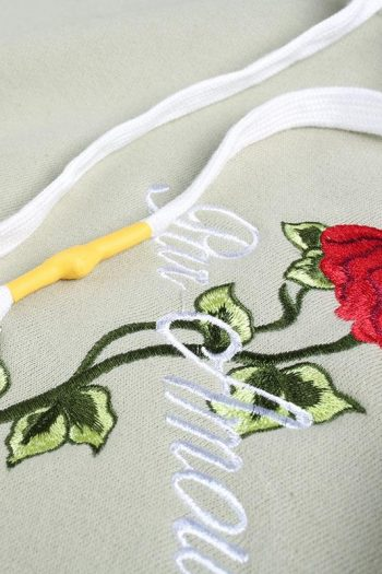 Rose Embroidered Hooded Sweater