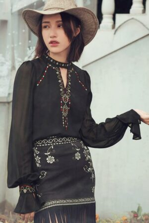 Hippie Style Black Embroidered Shirt