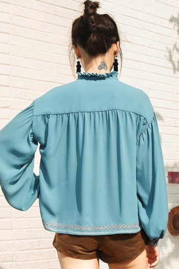 Embroidered Blue Boho Shirt