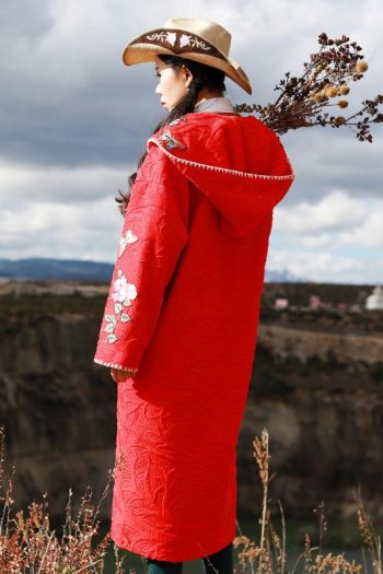Floral Embroidered Red Coat
