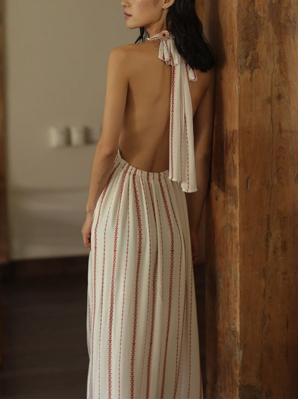 Backless Striped Embroidered Sexy Dress