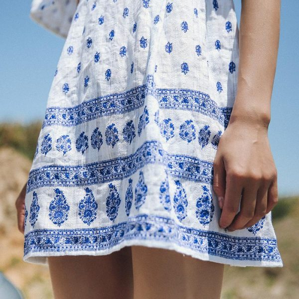 Blue Embroidered Summer Short Dress