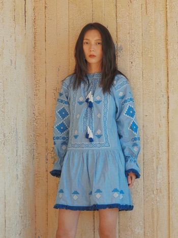 Bohemian Embroidered Blue Dress