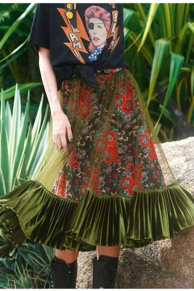Bohemian Floral Green Pleated Skirt