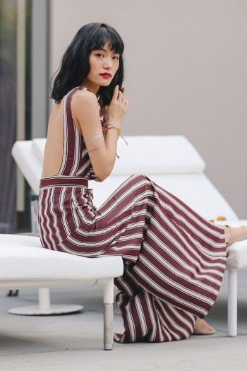 Backless Striped Wide Leg Jumpsuit