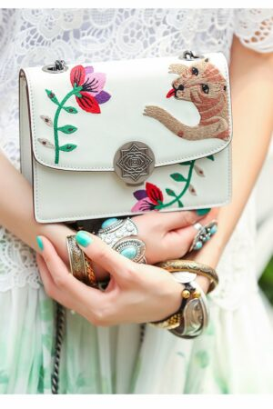 White Embroidered Leather Bag