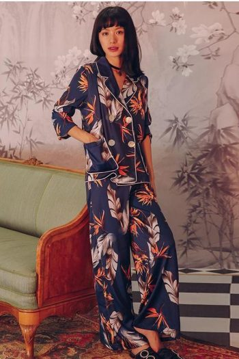 Pajama Style Floral Two-Piece Suit
